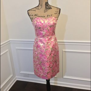 Lilly Pulitzer Sz 2 Raya silk + Gold cocktail dres
